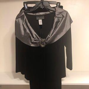 Women's 2pc Black Velvet Pant Suit